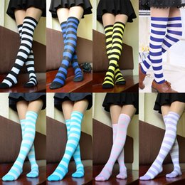Wholesale Cheap Thigh Highs Stockings - Wholesale-Hot New Sexy Women Girl Striped Cotton Thigh High Stocking Over the Knee Socks Fashion Stockings For Dating Cosplay Cheap Z1