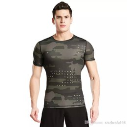 Wholesale Men S Tight Shirts - Short - sleeved tights fitness clothes men 's sports outdoor camouflage clothing sweat perspiration dry clothes basketball running T - shirt