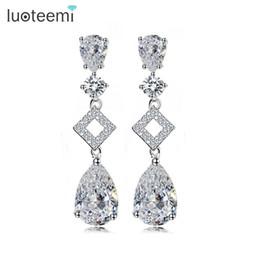Wholesale Copper Plating Lead - LUOTEEMI 2017 New Women Wedding Elegant AAA Zircon Long Drop Dangle Earrings White Gold Plated Lead and Nickel Free Factory Sale