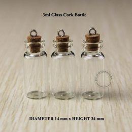 Wholesale Test Tube Pendant - 3ml Mini small glass bottles vials jars with corks decorative corked glass test tube bottle with cork for pendants mini 50pcs