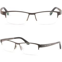 Envolver alrededor de marcos online-Gran para hombre de titanio ligero marco envolvente alrededor de gafas graduadas gafas de sol gris