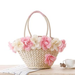 Wholesale Fresh Tone - Factory wholesale brand series of peony flowers package romantic holiday beach bag lovely small fresh roses woven bag summer beach bag