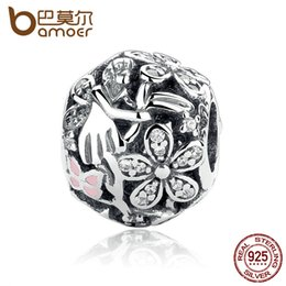 Wholesale Pandora Charms Fairy - Pandora Style New Collection 925 Sterling Silver Dazzling Daisy Fairy Charms fit Pan Bracelet with Light Pink Enamel & Clear CZ PAS315