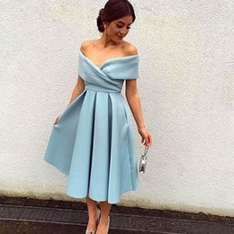 Wholesale Tea Length Dresses Stock - Cheap Sexy Short Prom Dresses 2017 Glamorous Off Shoulder Elegant Light Sky Blue A Line Satin Dress Party Evening Tea Length Fast Shipping