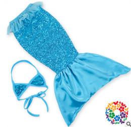 Wholesale Gauze Swimwear - Custom made Girls sequins mermaid swimwear kids shell bikini tail Swim skirt 2pcs sets girls lace gauze gauze falbala beach swimsuits R1302