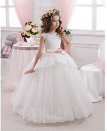 Wholesale Pageant Gowns For Sell - 2017 Best Selling Custom Dress First Communion Dresses For Girls Ball Gown White Lace with Bow Flower Girl Dresses Kids Pageant Gowns