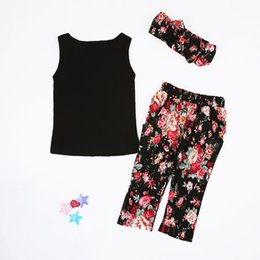 Wholesale Korean Girl Trading - Sunshinebabyclothing 2016 Korean version of the foreign trade explosion summer girls Tshirt printing trousers 3 piece children's suits