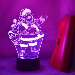 Wholesale Color Changing Table Lamps - Creative Christmas Decoration Light Gifts 3D Illusion Lamp Santa Claus Touch Table Lamp 7 Color Changing USB LED Night Light Atmosphere Lamp