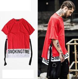 Wholesale Gothic Men Clothing - T-shirt Longline Fear Gothic T shirt False Two Patchwork Black Red Brand Clothing Hip Hop Short Tshirt Men Tee Kanye West Of God