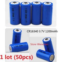 Wholesale Rechargeable Lithium Battery Cr123a - 50pcs 1 lot 16340 CR123A 3.7V 1200mAh lithium li ion Rechargeable Battery 3.7 Volt li-ion batteries free shipping