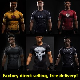 Wholesale Cosplay Costume Black - Compression Shirt Flash 3D Printed T-shirts Men Raglan Short Sleeve Flash Cosplay Costume Quick Dry Fitness Clothing Tops Male