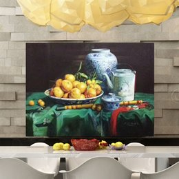 Wholesale Orange Abstract Canvas Art - Yi Le Mai Frameless Pure Hand Painted Modern Wall Decoration Art Oil Painting Fruit Orange with Green Fabric