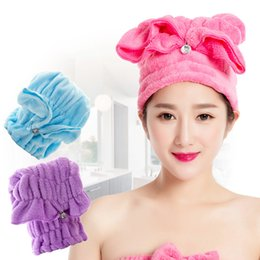 Wholesale Super Absorbent Hair Towels - Quick Dry Hair Drying Cap Hair Dryer Bonnet With Crystal Button Coral Fleece Women Towel Super Absorbent Hair Accessories Type A