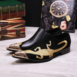 Wholesale Lizard Shoes - Men's Fashion Metal Pointed Toe Casual Shoes Black Patchwork Leather Chaussure Homme Gold Embroidery Lizard Oxford Shoes