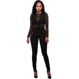 Wholesale Club Wear Jumpsuits - New Stylish Sexy Women Jumpsuit Hot Spring Long Sleeve Transparent Lace Patchwork Back Zip design Romper Night Club Wear S64235