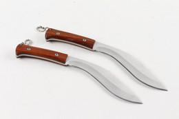 Wholesale Blade Machete - Drop shipping Nepal Machete 440C Satin Blade Wood Handle Fixed Blade Knives With Nylon Sheath Cheap Price