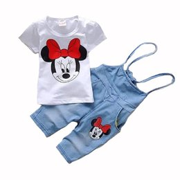 Wholesale Minnie Mouse Overall - Wholesale- 2017 Baby clothes Girls Minnie Mouse suit Summer cotton Kids 2-pcs sets T Shirt+Jeans Overalls Girl Children Kids Clothing Sets