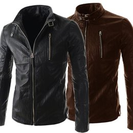 Wholesale Cool Leather Jackets For Men - Personalize Men Cool Leather Jacket Long Sleeve Stand Collar PU Motorcycle Jacket For Men Contracted Slim Style Men Overcoat J160118
