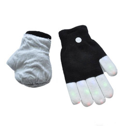 Wholesale Led Rave Gloves Wholesale - New LED Rave Gloves Mitts Flashing Finger Lighting Glove LED Colorful 7 Colors Light Show Black and White fast shipping