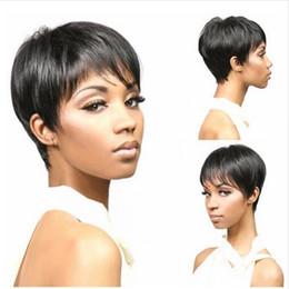 Wholesale Good Hair For Cheap - short wigs for black women black straight hair wig with bangs Simulation Human Hair short cut wig cheap good quality free shipping