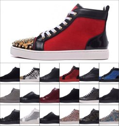 Wholesale orange dress shoes for women - 2017 New Fashion High Top Multicolored Glitter Red Bottom Shoes For Men Women Top Qulity red golden Genuine Leather Dress Shoes in stock