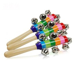 Wholesale Kids Musical Bells - Rainbow Musical Instrument Toy Wooden Hand Jingle Ring Bell Rattle Baby Kid Gift 2016 New XL-T38