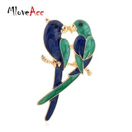 Wholesale Dual Brooch - Wholesale- 2016 Vintage New Fashion Dual Bird Kiss Love Parrot Brooches Cute Animal Epoxy Alloy Gold Brooches & Pins For Women Gifts