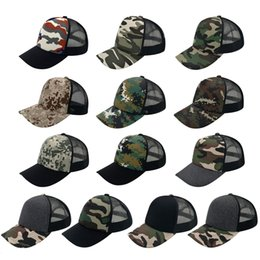 Wholesale Military Style Caps Hats - 15 Colors 5 Panels Trucker Caps Hats Military Camouflage Camping Hat 100% Cotton Snapbacks Hats Fitted Styles for Men Women Accept Logo Made