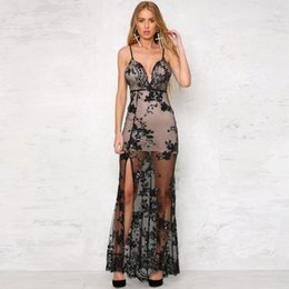 Wholesale Sexy Maxi Dress Night - Women's Sequins Split Long Dress Sexy Backless Spaghetti Strap Maxi Party Dress Ladies Black Gold Mermaid Dresses LJG0301
