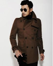 Wholesale Fashion Pea Coats - Brown black 2017 new autumn winter Double breasted wool coat men fit slim mens pea coat woolen fashion handsome coats cashmere S - 3XL