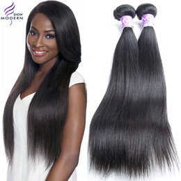 Wholesale Black Beauty Weave - Beauty Modern Show Brazilian Virgin Hair Straight Human Hair Weave Natural Black 1b Can be Dyed and Bleached All Color