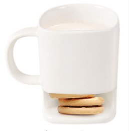 Wholesale Office Coffee Holders - Ceramic Mug Coffee Biscuits Milk Dessert Cup Tea Cups Bottom Storage for Cookie Biscuits Pockets Holder For Home Office