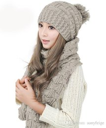 Wholesale Wholesale Wool For Suit - 2pcs set multicolor winter hat and scarfs set for women warm suit girls wool hats thicken scarves ladies scarf