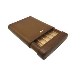 2019 cortador de cigarro de aço inoxidável de alta qualidade Cor marrom Couro COHIBA forro De Madeira Titular Cedar 5 Tubo Fácil de transportar Caso de Viagem Charuto Humidor