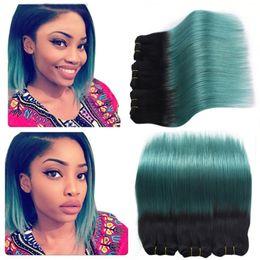 Wholesale Two Tone Malaysian Hair Extensions - Ombre Brazilian Virgin Hair 3Pcs Human Hair Ombre Extensions 1B Teal Green Hair Weave Two Tone Body Wave Bundles 300G Lot