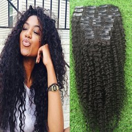 Wholesale Indian Remy Hair Clip Ins - Brazilian Clip In Human Hair Extensions Kinky Curly Virgin hair 100g Natural Black Remy Clip ins Hair 9pcs set