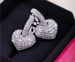 Wholesale Cubic Zirconia Clip Earrings - Luxury Bling Heart Clip Earriings Sterling Silver Sparkling Cubic Zirconia Micro Paved Earring Stud Women Crystal Designer Jewelry