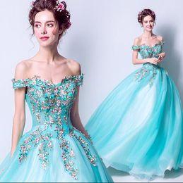 Wholesale Exotic Lace Wedding Dresses - Women's Clothing sky blue Princess bride dress Exotic flowers embroidery Bride wedding dress