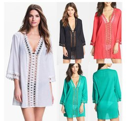 Wholesale Crochet Beachwear - Hollow Out Bikini Cover Ups Summer women Sexy Blouse Deep V-Neck Wrap Beach Dress Beachwear Crochet Poncho Playsuits KKA1316