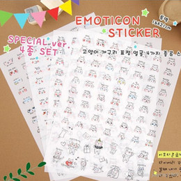 Wholesale Diy Toys For Kids - 4 sheets set Transparent Personality Fashion Emojis Cute Bunny Rabbit Head Emoticon Sticker DIY Toy for Kids