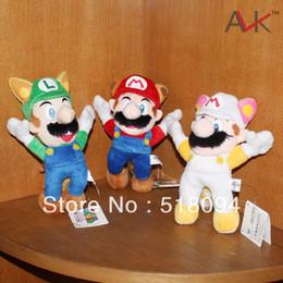 """Wholesale Luigi Toys - Wholesale- 3pcs lot Free Shipping Super Mario Bros Raccoon Tanooki Mario Kitsune Fox Luigi White Racoon Fire Mario Plush Toy 8""""20CM SMPD165"""