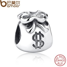 Wholesale Silver Beautiful Bags - Wholesale-New Year Gift 925 Sterling Silver Small Beautiful Money Bags Charms Fit Bracelet & Necklace Jewelry Accessories PAS198