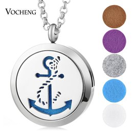 Wholesale Anchor Pendants - Perfume Essential Oil Diffuser Locket Necklace 316L Stainless Steel Magnetic Anchor 30mm without Felt Pads VA-335