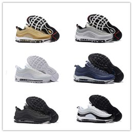Wholesale Silver Shoes Flats Women - 2017 New Classical Max 97 Running Shoes Silver Bullet Metallic Gold Men Women Sport Shoes Top quality 6 Colors trainers With Box