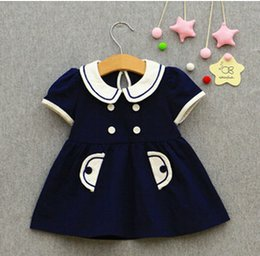 Wholesale Tutu Free Shipping - 2017 wholesale and retail brand new IDEA baby girls summer dress kids preppy style cotton mini dress (0-2 years old) Free shipping