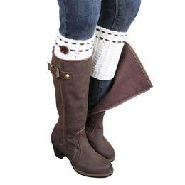 Wholesale Cheap Womens Fashion Boots - Wholesale- Hot New Fashion Womens Winter Warm Leg Warmers Soft Crochet Knitted Boot Socks Button Boot Cuffs calentadores piernas Cheap Z2