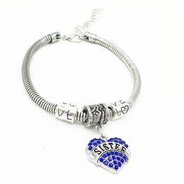 Wholesale Believe Hope Love - Free Shipping Diamond Love Heart Bracelet Crystal Family Member Mom Daughter Grandma Believe Faith Hope Best Friend Wristband for Women