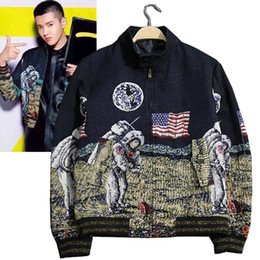 Wholesale Universe Shorts - Wholesale- New autumn and winter Universe moon astronauts in space exploration stand collar short jacket design outerwear coat men clothing