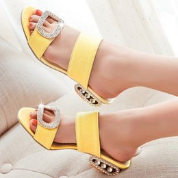 Wholesale Leather Spools - Wholesale-Women Sandals 2016 Ladies Summer Slippers Shoes Women Low Heels Sandals Large Size 9 10 Fashion Orange Rhinestone Shoes Yellow