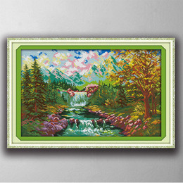 chinese scenery painting Coupons - The mountain stream scenery painting counted printed on canvas DMC 14CT 11CT chinese Cross Stitch Needlework Sets Embroidery kit